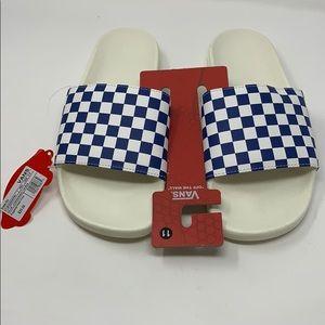 VANS blue checkered slider sandals Size 11 Men's